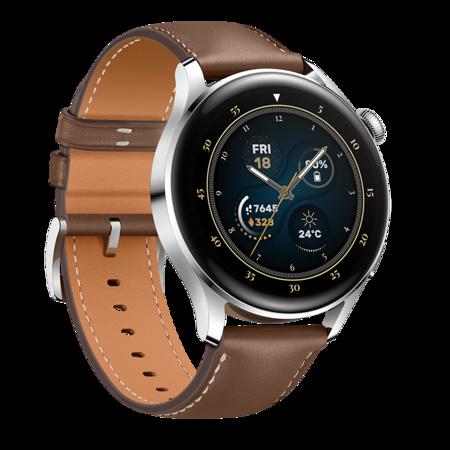 Smartwatch Huawei Watch 3 srebrny, brązowy pasek